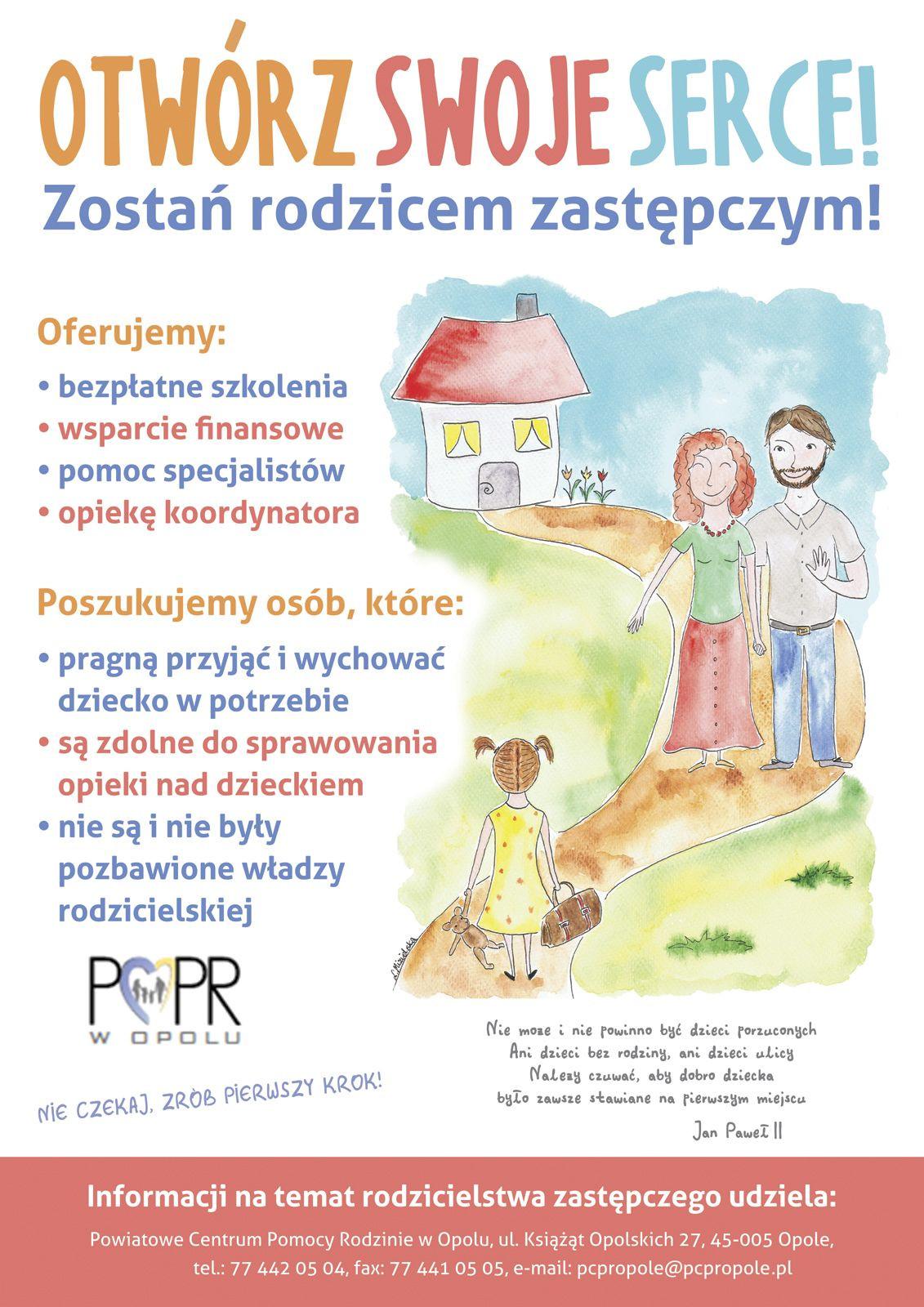 Plakat promujący rodzicielstwo zastępcze